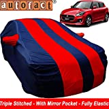 Autofact Car Body Cover for Maruti Swift 2018 Onwards (Mirror Pocket , Premium Fabric , Triple Stitched , Fully Elastic , Red / Blue Color)