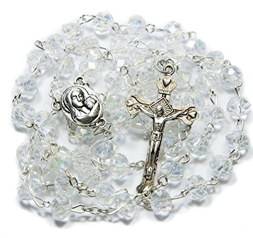 Clear-Crystal-Beads-Rosary-Catholic-Necklace-Holy-Soil-Medal-with-Crucifix