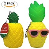 Trasfit 2 Pack Jumbo Slow Rising Squishies Pineapple Soft Toys - Scented Kawaii Squishy Cool Sunglasses Pineapple Man