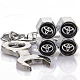 #9: Automaze Tyre Valve Caps for Cars | Chrome Colour, Tire Air Stem Caps | for Toyota Cars