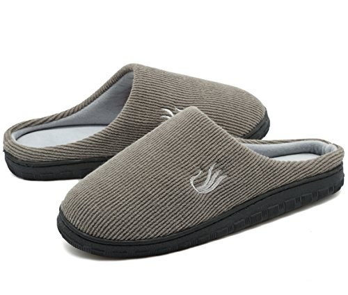 Hausschuhe Zweifarbige Memory Foam Sohlen Warme w / Innen Im Freien Schuhe Beige/Grey-L (Zeigen Weniger Socken)