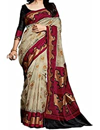 Rangrasiya Women's Bhagalpuri Silk Printed Saree With Blouse Piece