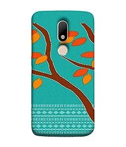 PrintVisa Designer Back Case Cover for Motorola Moto M (Animated tree brown pattern leafs)