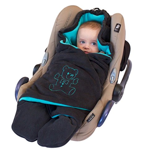 """ByBoom® – Baby Winter-Einschlagdecke """"Das Original mit dem Bären"""", Universal für Babyschale, Autositz, z.B. für Maxi-Cosi, Römer, für Kinderwagen, Buggy oder Babybett, Farbe:Anthrazit/Limette"""