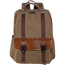 Panegy Mochila Vintage Canvas Moda Unisex Mochila Laptop Backpack Handbag para Escuela Acampar Viaje/MacBook/Surface Pro/iPad Tablet PAD Caqui Oscuro