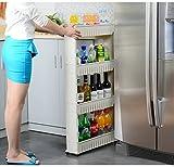 #2: KR STORE 4 Tier Slim Side Kitchen Storage Rack With Wheels, White