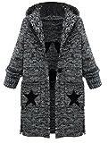 Vogstyle Femme Manteau Cardigan Tricot Lourd Pull ouvert à Capuche Gilet manches longues Chaud Avec Poches Style 1 Gris M