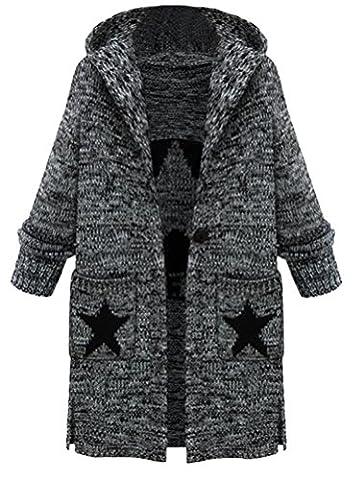 Vogstyle Femme Manteau Cardigan Tricot Lourd Pull ouvert à Capuche Gilet manches longues Chaud Avec Poches Style 1 Gris L