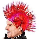 Red & Purple Mohican Wig Punk Nu Rave Rocker Rebel Fancy Dress