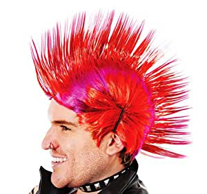 Red & Purple Mohican Wig Punk Nu Rave Rocker Rebel Fancy Dress