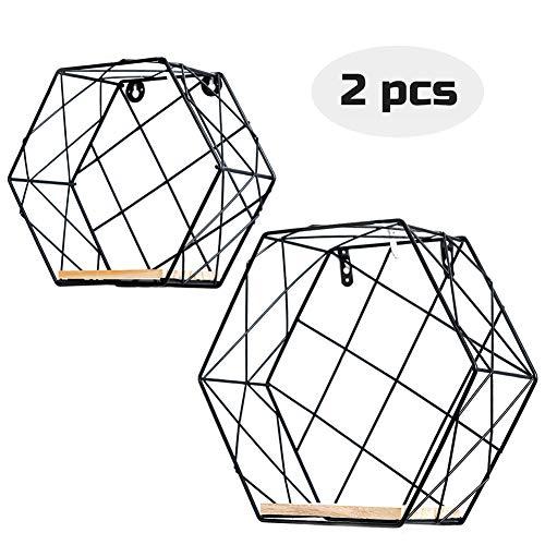 Infinite node mensole da muro metallico arte mensole esagonale in legno massello per la pianta da appendere a parete, disegno geometrico per la decorazione casa e ufficio, set di 2 (nero, grata)