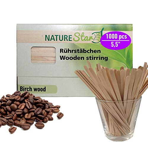 1000 Coffee Stir Sticks Wood Disposable Swizzle Stirrer Wooden Best for Hot/Cold Beverage