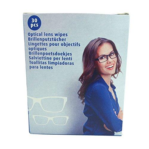 Bid Buy Direct®, confezione da 30 salviette per pulizia delle lenti, senza alcool, facili e veloci da usare, per pulizia di lenti, smartphone, tablet, laptop, schermo della fotocamera, caschi, occhiali