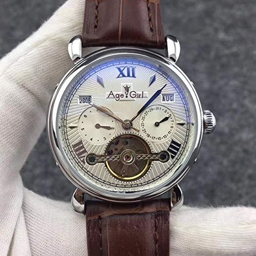WAVFCSE Automatische mechanische Uhren für Männer Luxusmarke Bright Edelstahl Rose Gold Schwarz Leder Swivel Saphirglas Leder Silber Weiß -