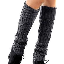Calentadores de Pierna,TININNA calientes del invierno del ganchillo de la pierna calentadores de arranque calcetines largos de punto polainas Calcetines de punto para señoras de las mujeres-Gris