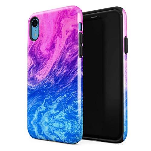 Cover Universe Hüllen für iPhone XR Hülle, Blue & Pink Ombre Paint Mix stoßfest, zweilagig mit Hardcase aus PC + Hülle aus TPU, hybride Case Handyhülle Paisley Mix
