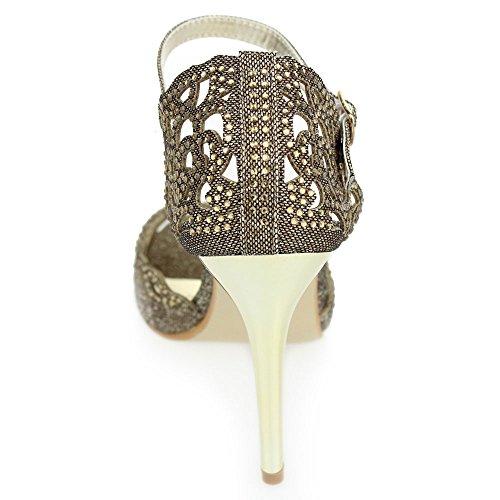Aarz Femmes Mesdames Soirée de mariage Prom Party talon haut bout ouvert Diamante Sandal Bridal Chaussures Taille (Noir, Argent, Or, Brun) Brun