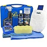Petzoldts Spezial Autowasch-Set, mit Reinigungsknete und Spezial Gleitmittel, Glanz-Shampoo 2.0, Microfaser-Waschhandschuh, Waschschwamm, Saug-Schwammtuch und Waffel-Trockentuch