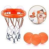 Badespielzeug Basketballkorb für Kinder & Kleinkind mit 3 Kugeln, Badewanne Schießen Spiel für kleine Jungen und Mädchen