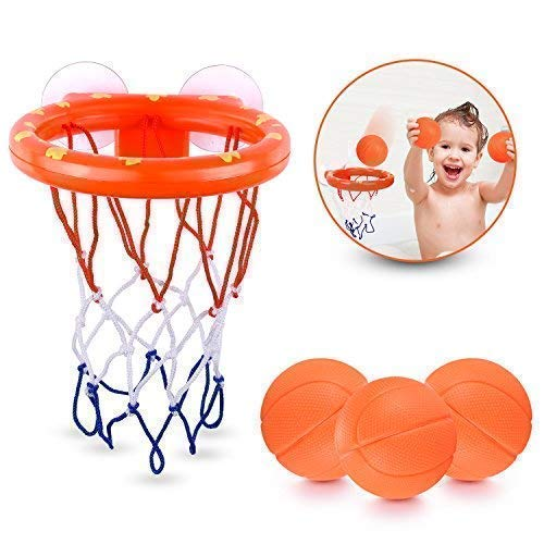 Badespielzeug Basketballkorb für Kinder & Kleinkind mit 3 Kugeln, Badewanne Schießen Spiel für kleine Jungen und Mädchen - Wanne-geschenk-korb