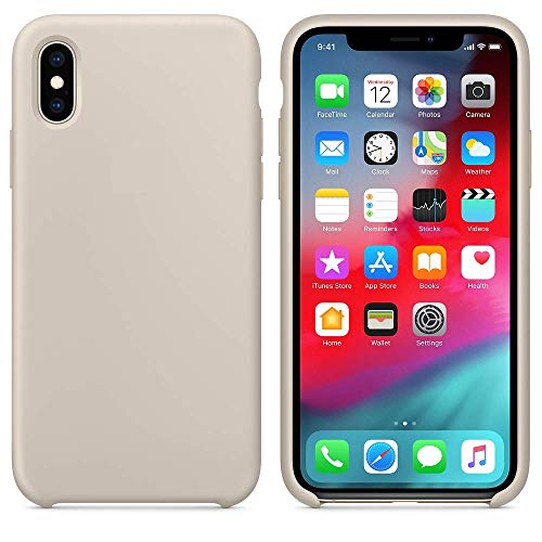 Arrivly Silicone Case Für Original Apple iPhone X Silikon Hülle Case Schutzhülle Cover Ultra Slim Dünn Silikonhülle (Stein) Iphone Silicon Case