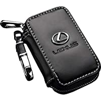 Key Chain and Cow Leather Wallet with Lexus Logo for Key and Remote - Black Color