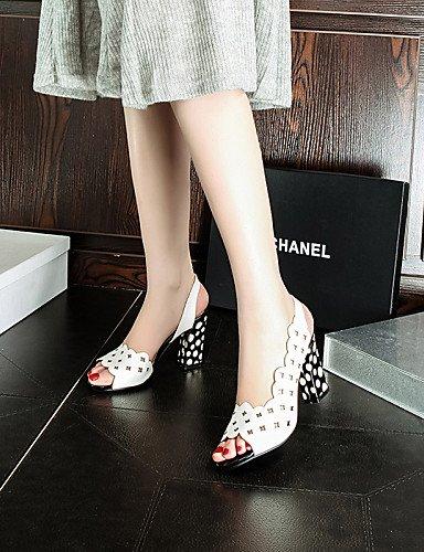 LFNLYX Chaussures Femme-Habillé / Décontracté / Soirée & Evénement-Noir / Blanc-Gros Talon-Talons / Bout Ouvert / A Bride Arrière-Sandales-PU White