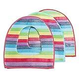 Yalulu 3 Stück Regenbogen Reißverschluss Weiche Bequeme Waschbar Toilettenbrillen-Bezug Badezimmer WC Sitz Cover Mat Deckel Closestuch