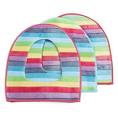 Yalulu 3Pcs Soft Rainbow Color Zipper Warm Comfy Toilet Seat