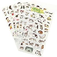 FomCcu 6 Sheets Portable Cute Cat Album Diary Calendar Sticker Label Scrapbooking Craft