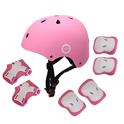 XJD 7Pcs Child Kids Bike Cycling Bicycle Protective Gear Set, Helmet Knee and Elbow Pads with Wrist Guards Toddler for Multi-sports Outdoor Activities: Rollerblading Skating Football BMX Scooter (pink)
