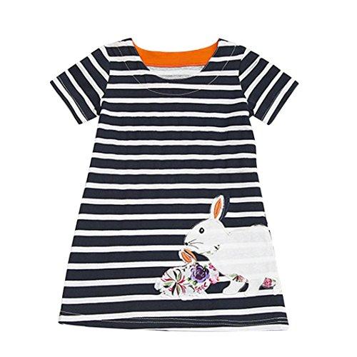 JERFER Mädchen Cartoon Vogel Druck Stickerei Streifen Kleid T-Shirt Top Bluse Kurzarm-Shirt 2- 6Jahre (Schwarz, 6T) (Jungen Kleid T-shirt Größe 18)