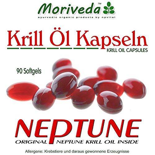 Krill oil capsules 270, 100% pure NEPTUNE premium krilloil – Omega 3,6,9 astaxanthin, phospholipids, choline, vitamin E – Brand quality by MoriVeda (3×90)