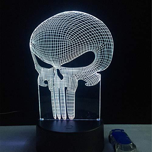 GBBCD Nachtlicht Zahn Schädel 3D Led Usb Lampe Halloween Punisher Stimmung bunte Angst unter dem Motto Haunted House Decor Nachtlicht Bühnenbeleuchtung
