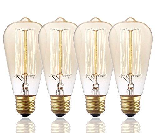 morntek 60W Vintage Antik Stil Edison-Birne–ST64Glühlampe–Eichhörnchen Käfig Filament–200Lumen–dimmbar, glas, 4er-Packung 220.00volts (Light-anhänger Käfig 4)