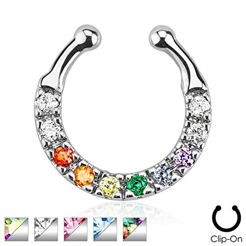 Faux piercing septum pavé de gem rose