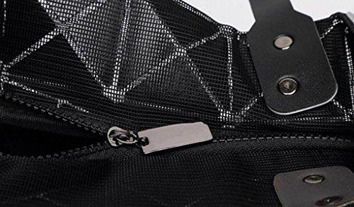 FZHLY Beiläufige Art Und Weise Der Dame Geometrische Ling Grid Matte Falttasche,DarkBlue Brown
