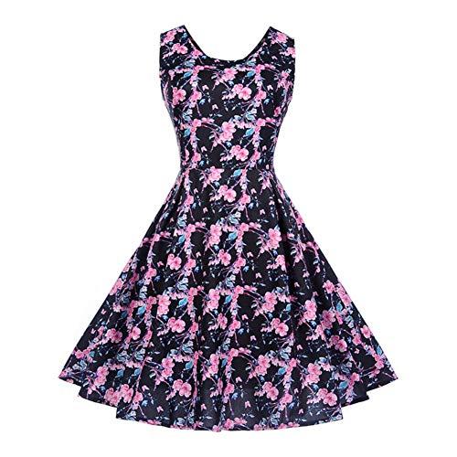 WDBXN Blumendruck Frauen Sommerkleid Ärmellos Oansatz Hohe Taille Vintage Kleid Hepburn 50S...