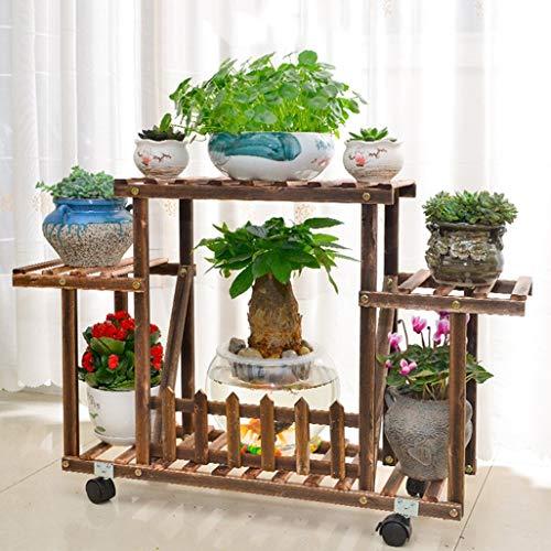 ChenDz Étape Balcon Stand De Fleurs Salon Sol En Bois Simple Étage De Style Style Meaty Flower Shelf Intérieur Multicouche Étage Simple