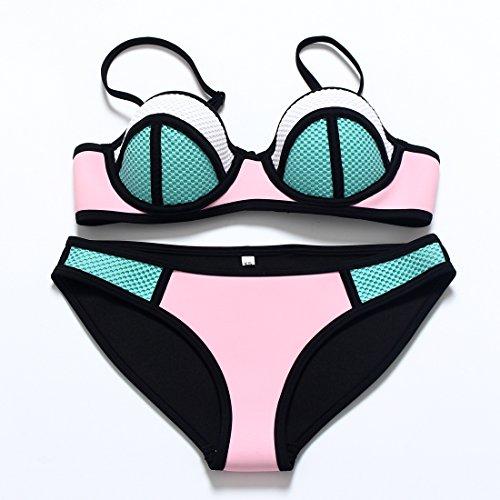 YONGYI Europa und die Sommer Strand sexy T western Neopren bikini Badeanzug Stahl- und Unterwäsche sammeln, das Mädchen Badeanzug + grün pink, M -
