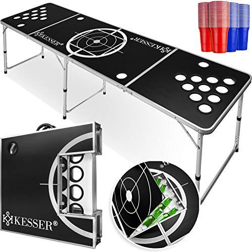 KESSER® Beer Pong Tisch Set - Inkl.Eisfach + 100 Becher (50 Rot & 50 Blau), 6 Bälle, + Regelwerk Classic -