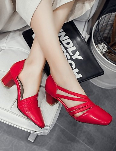 UWSZZ IL Sandali eleganti comfort Scarpe Donna-Sandali / Scarpe col tacco-Ufficio e lavoro / Formale / Casual-Tacchi / Punta squadrata-Quadrato-Finta pelle-Nero / Rosso / Black