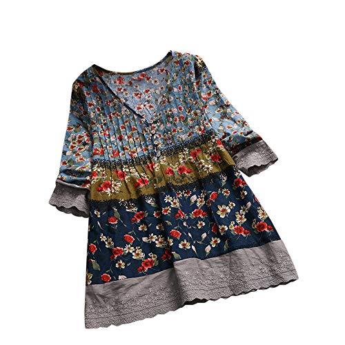 iHENGH Damen Bequem Mantel Lässig Mode Jacke Frauen Frauen mit Langen Ärmeln Vintage Floral Print Patchwork Bluse Spitze Splicing Tops(Marine-a, 5XL)
