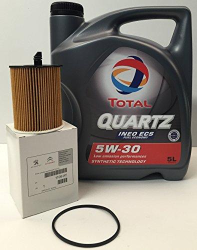 'DUO' TOTAL QUARTZ INEO ECS 5W30 5 litri + FILTRO OLIO originale dei marchi Peugeot/Citroen motore HDi (1109.AY)