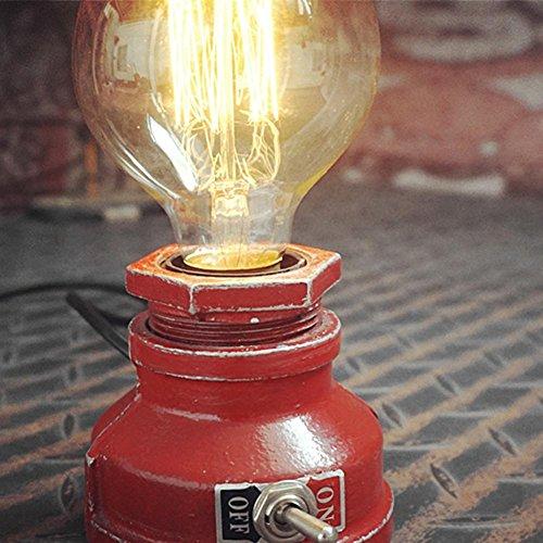 OOFAY LIGHT® Tischlampe American Village Kreative Retro Industrie Wasserrohr Dimmbare Schreibtischlampe Steampunk Decor Eisen Tischlampe Nachtlicht für Geschenk Bar Cafe E27 ohne Birne [Energieklasse A +++] , red