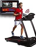 Sportstech F28 Profi Laufband mit Smartphone App Steuerung + Google Street View MP3 AUX Bluetooth 5 PS 18 km/h HRC Training -Klappbar
