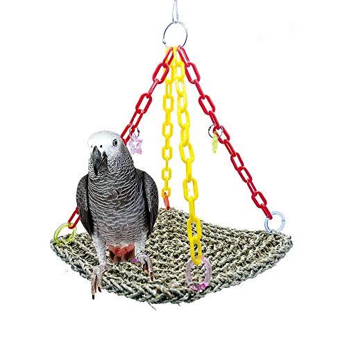 BCYOPS Rattan-Nest-Schwingen-Stand-Aufhänger-Korb,Vogel Plattform Stroh-Biss-Papageien-Schwingen-Kletterndes Spielzeug (Tief Rattan Korb)