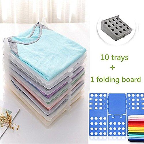 Gentoo Kleidung Organizer, T-Mix Closet Organizer/T-Shirt Underwear Folder with 10-Piece Separate Board (Dark Gray +Folding Board)