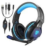 AooLife Gaming Headset für PS4, Xbox One, für Computer, Laptop, Tablet, Smartphone, Stereo-LED-Spiele-Kopfhörer mit Mikrofon und Lautstärkeregler, blau