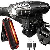 Sea Pioneer Bike Lights, USB wiederaufladbar Fahrrad Licht Set, Mountain Bike Licht, Lichter, LED Fahrrad Licht wiederaufladbar, Quick Release, USB wiederaufladbar vorne Scheinwerfer und Schwanz hinten Licht